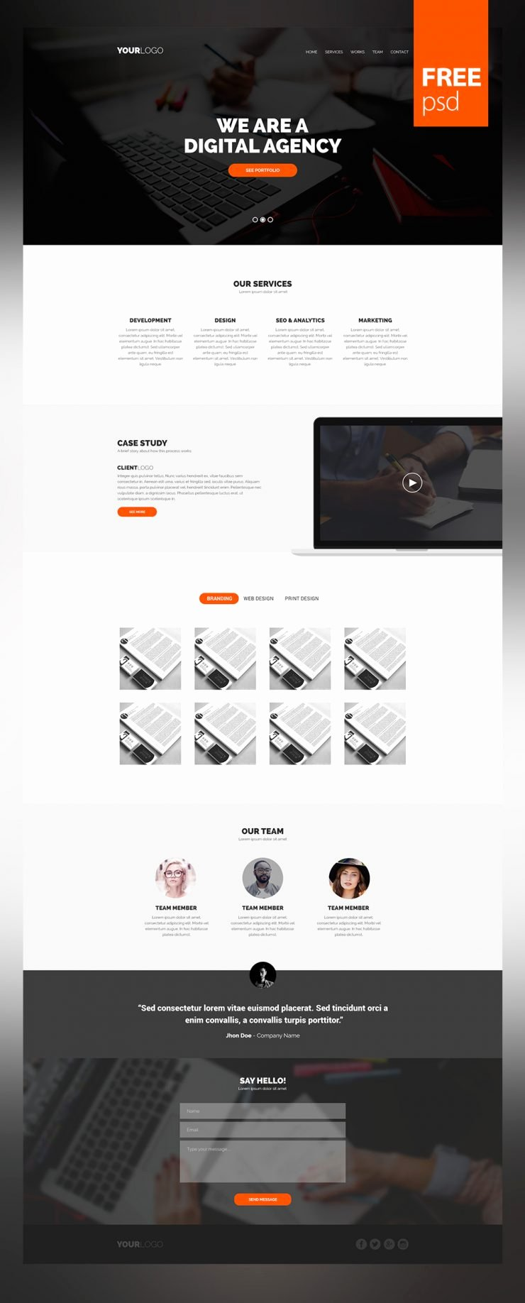 Simple and Clean Website Template Psd for Creative Digital