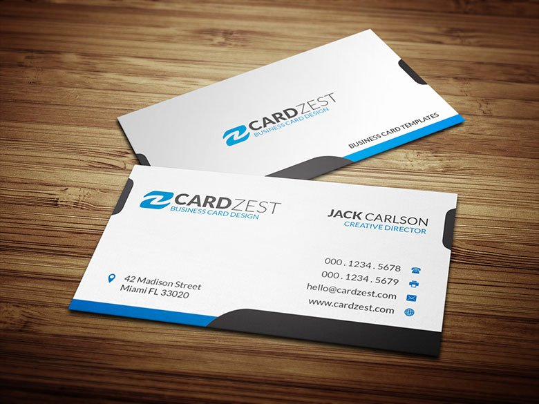 Simple and Clean White Business Card Template Cardzest