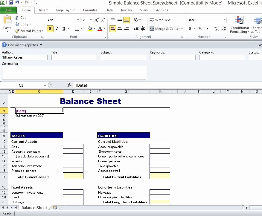 Simple Balance Sheet Template for Excel