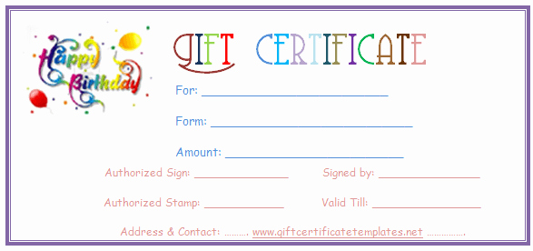 Simple Balloons Birthday T Certificate Template