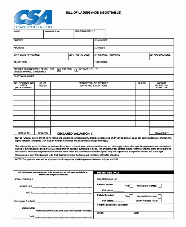 Simple Bill Of Lading Template 11 Free Word Pdf