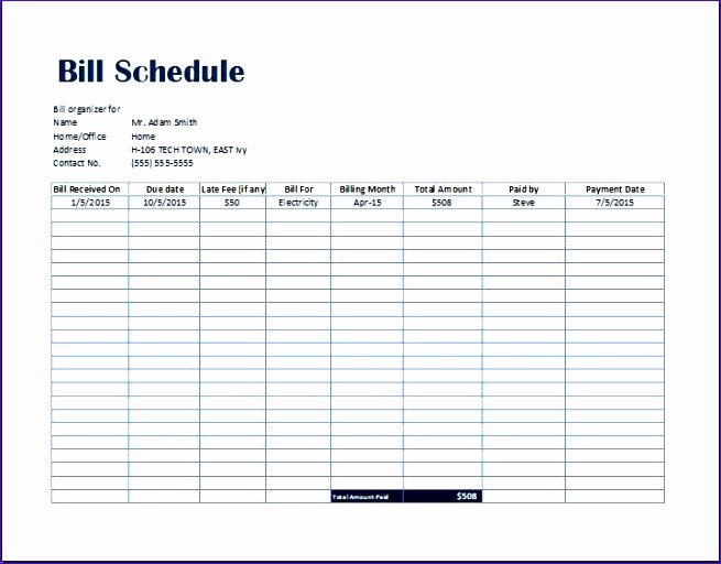 Simple Bill Payment organizer with Date Tracker Excel