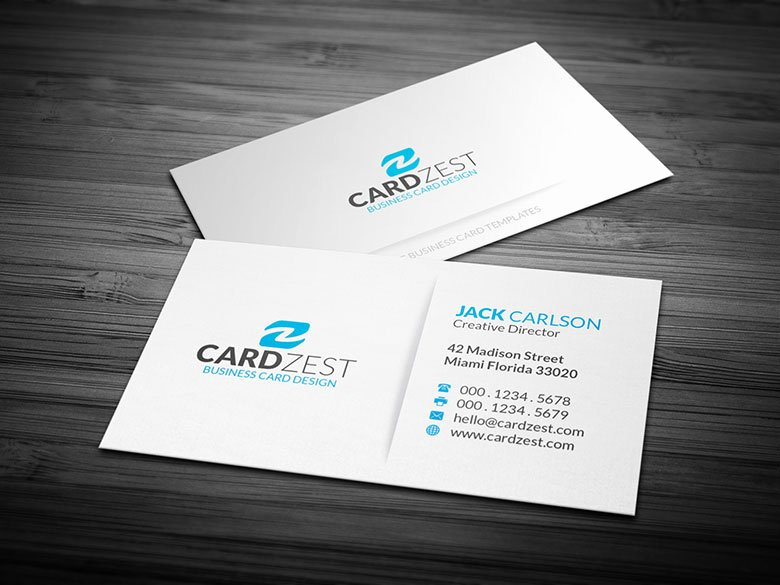 Simple Blue & White Minimalist Business Card Template