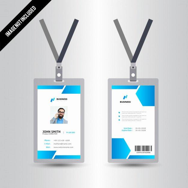 Simple Blue Id Card Template Design Vector