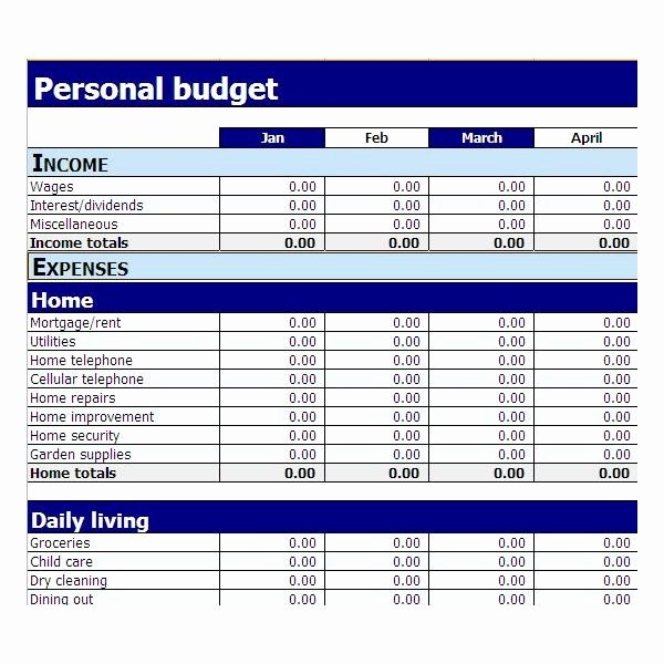 Simple Bud Template Excel