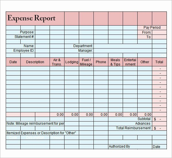 Simple Business Expense Report Template and form Vatansun