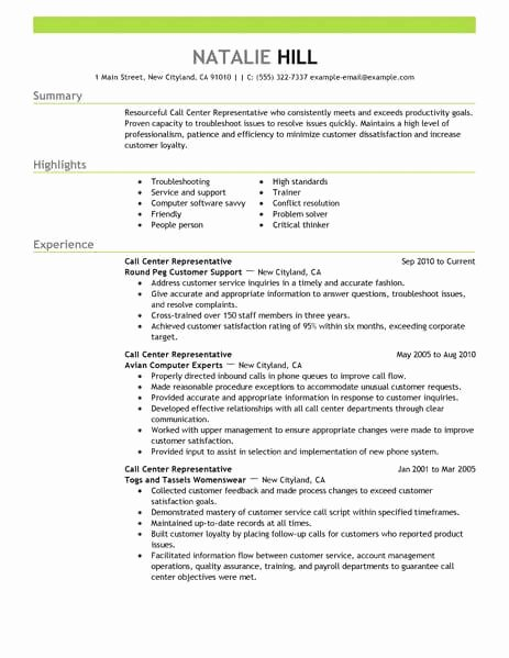 Simple Call Center Representative Resume Example