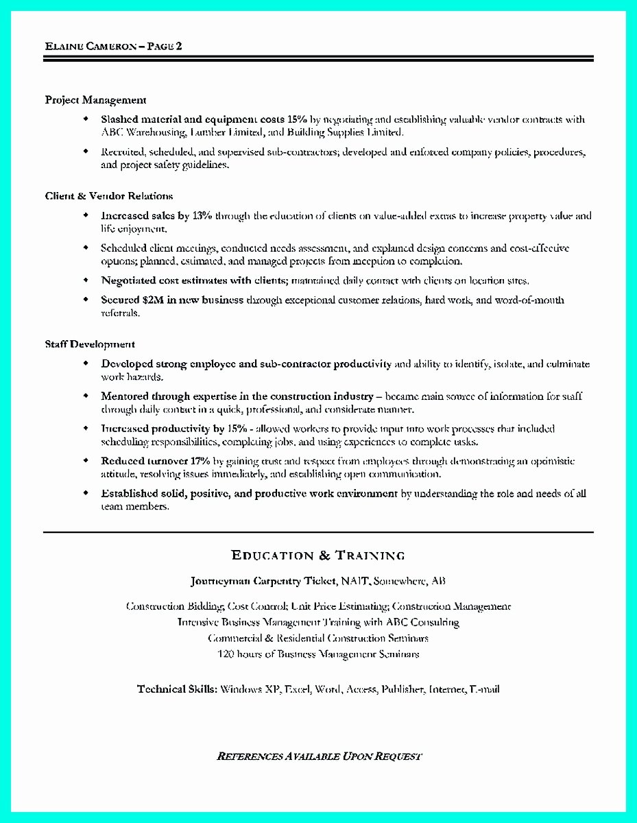 Simple Construction Superintendent Resume Example to Get