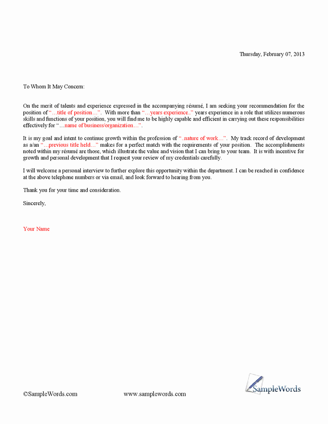 Simple Cover Letter Template for Resume