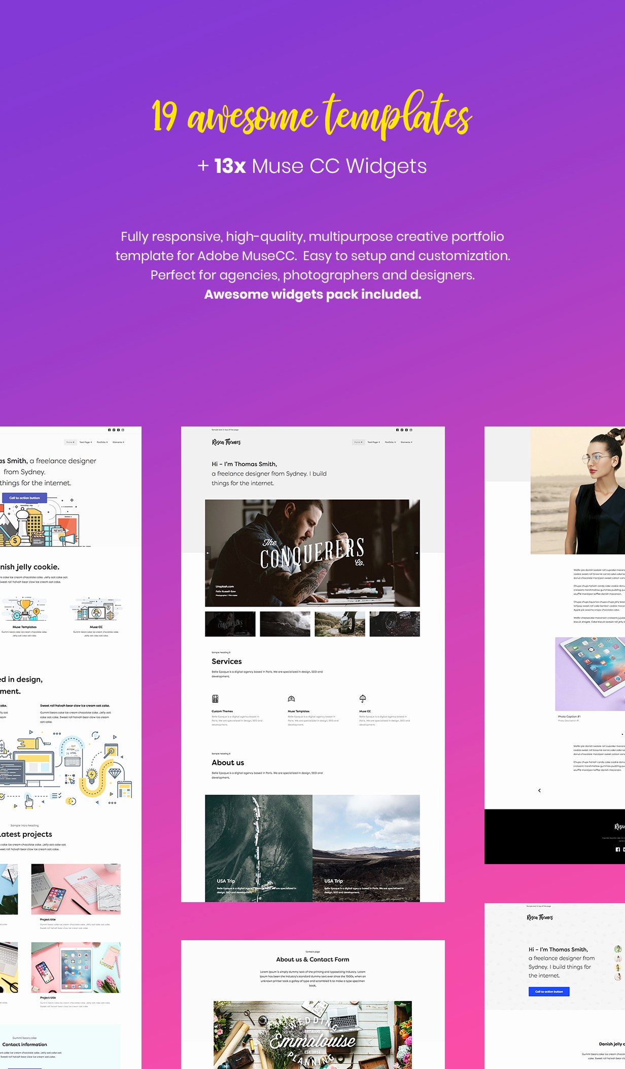 Simple Creative Portfolio Muse Cc Templates and Wid S