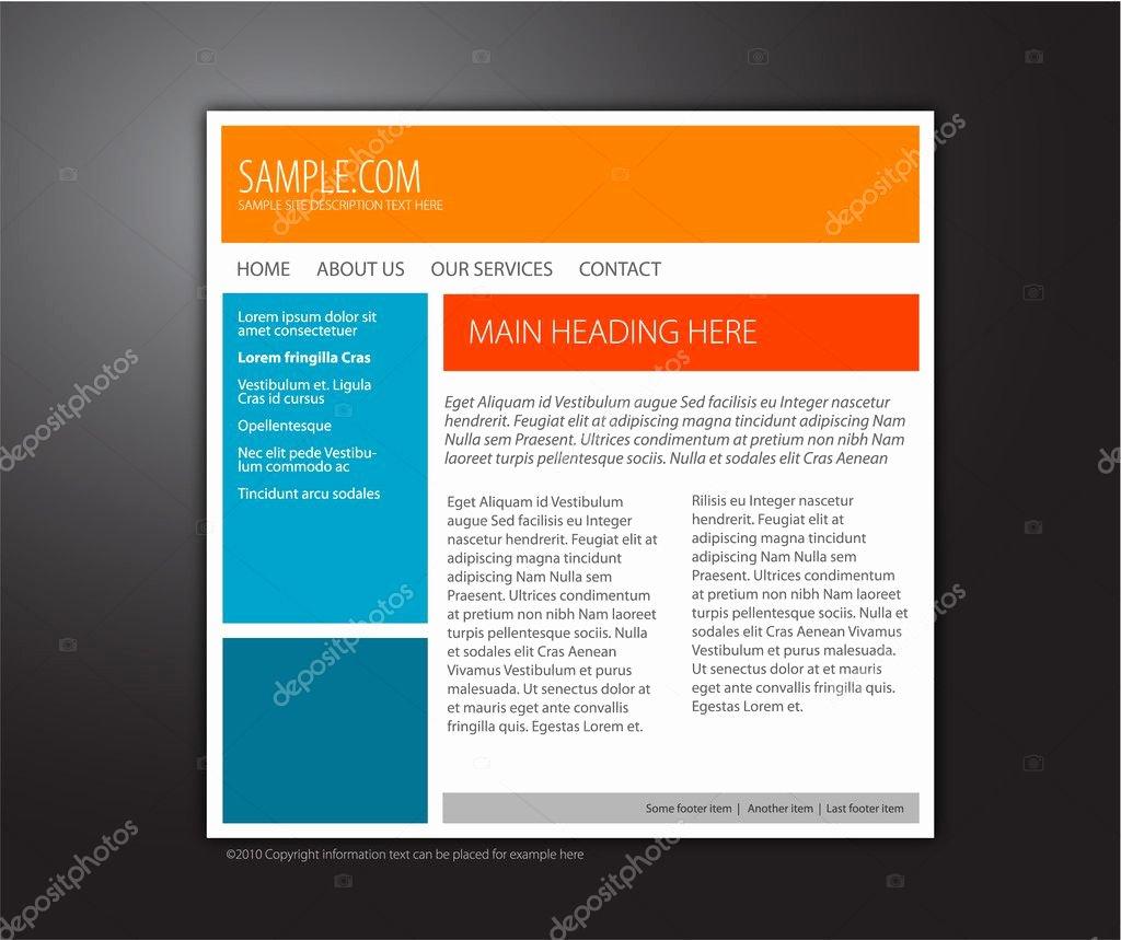 Simple Customizable Website Template — Stock Vector