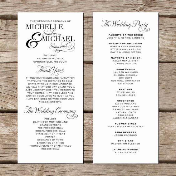 Simple Elegant Wedding Program Modern Trendy by