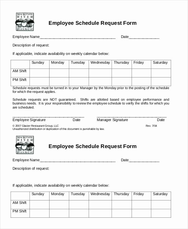 Simple Employee Schedule Template 7 Free Word Pdf