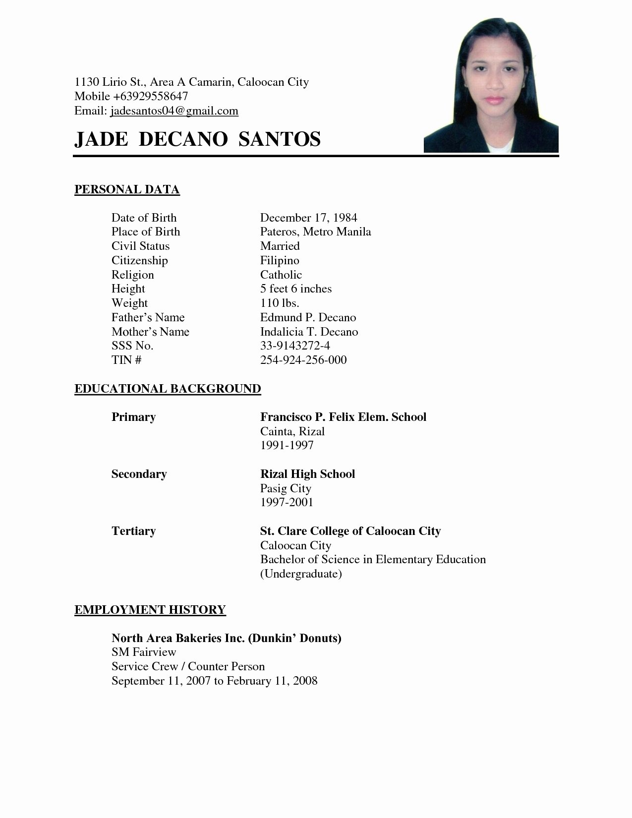 Simple Filipino Resume format