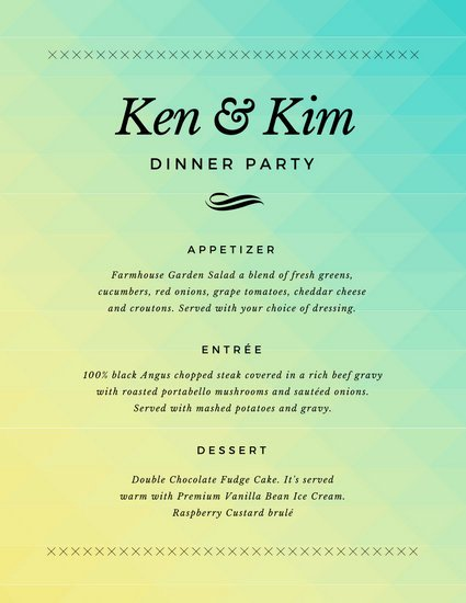 Simple Gra Nt Dinner Party Menu Templates by Canva