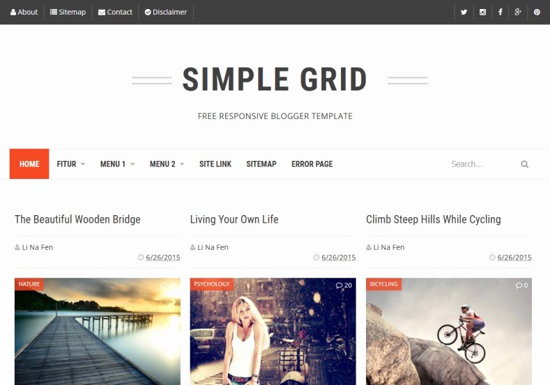 Simple Grid Blogger Template • Templates 2017