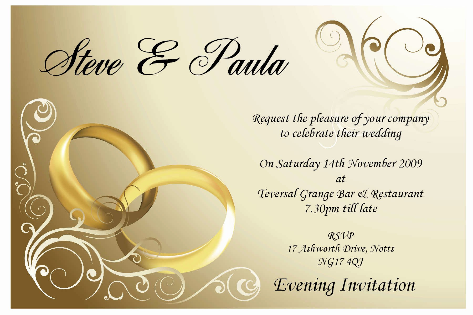 Simple Ideas Wedding Invitation Card Template Couple Ring
