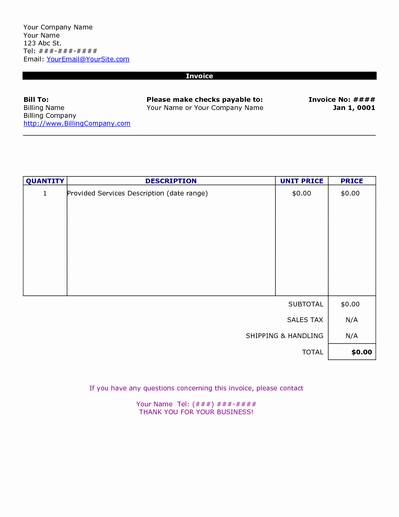 Simple Invoice Template Free