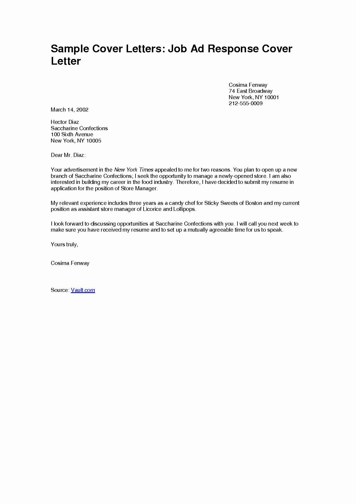 Simple Job Application Cover Letter Examples