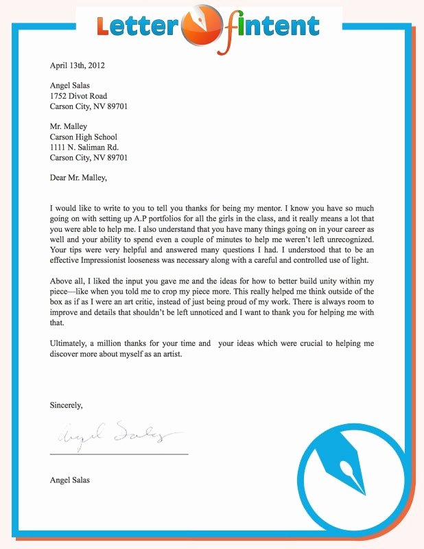Simple Letter Intent for Job New Position Sample for