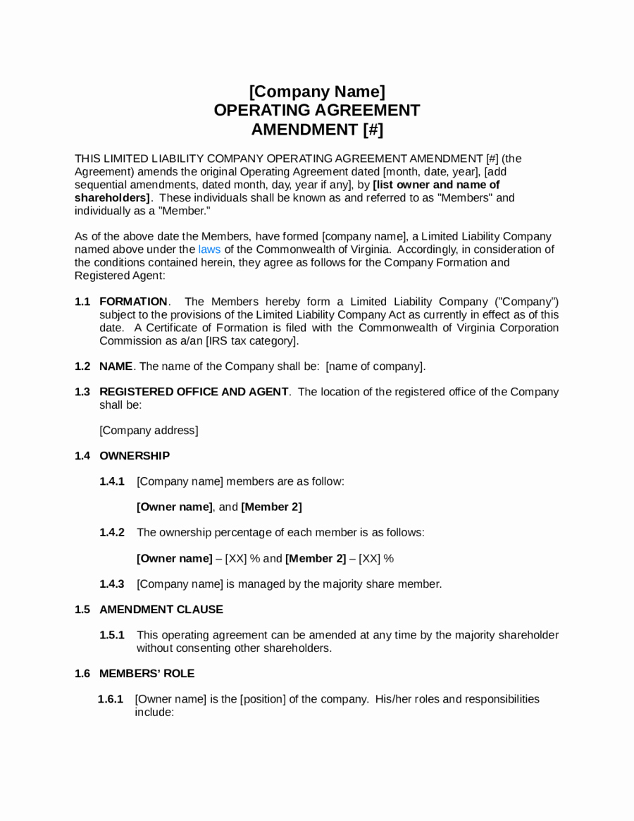 Simple Llc Operating Agreement Template Edit Fill Sign