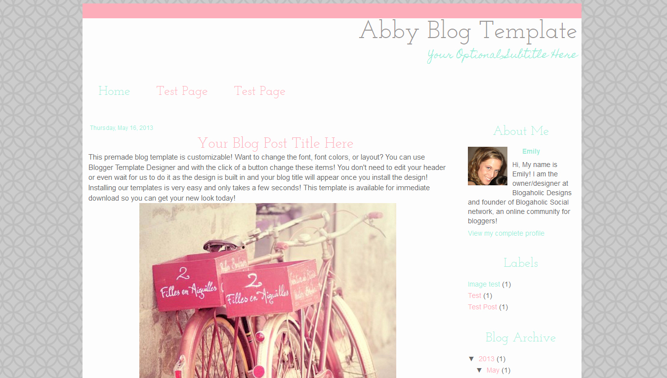Simple Modern Premade Blog Template Pink Grey