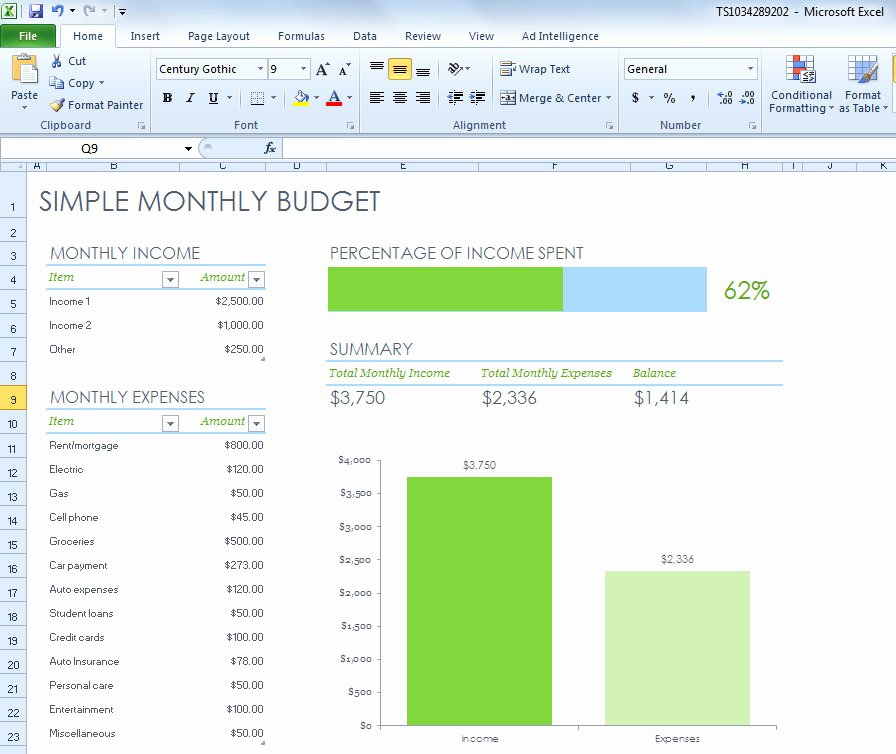 Simple Monthly Bud Spreadsheet for Excel 2013