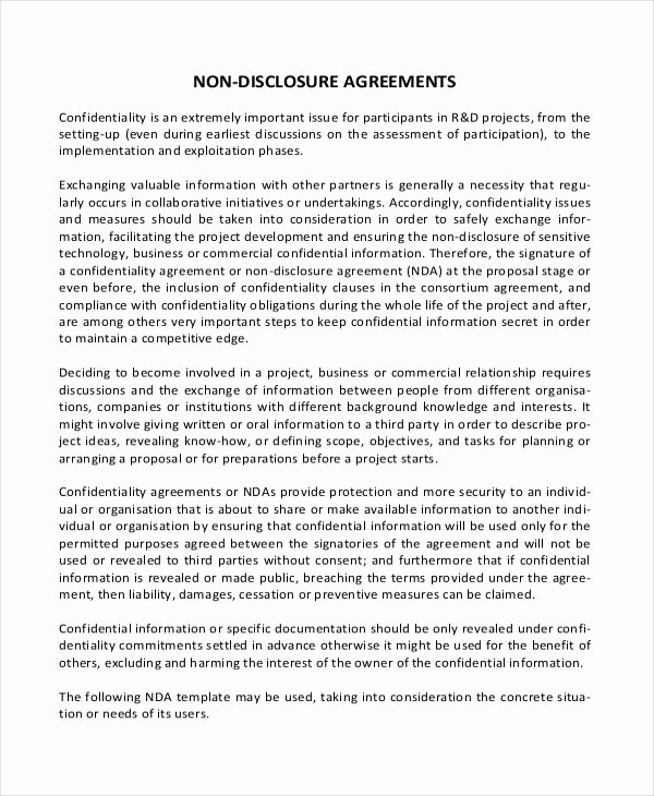 Simple Non Disclosure Agreement form – 13 Free Word Pdf