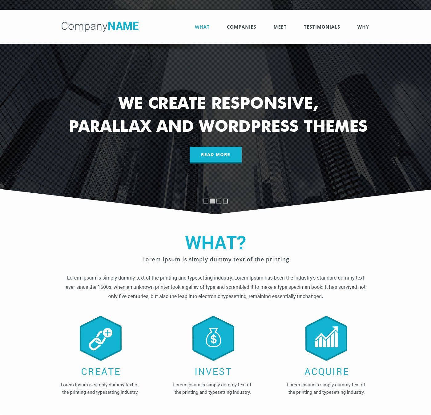 Simple Parallax Website Template Free Psd Download