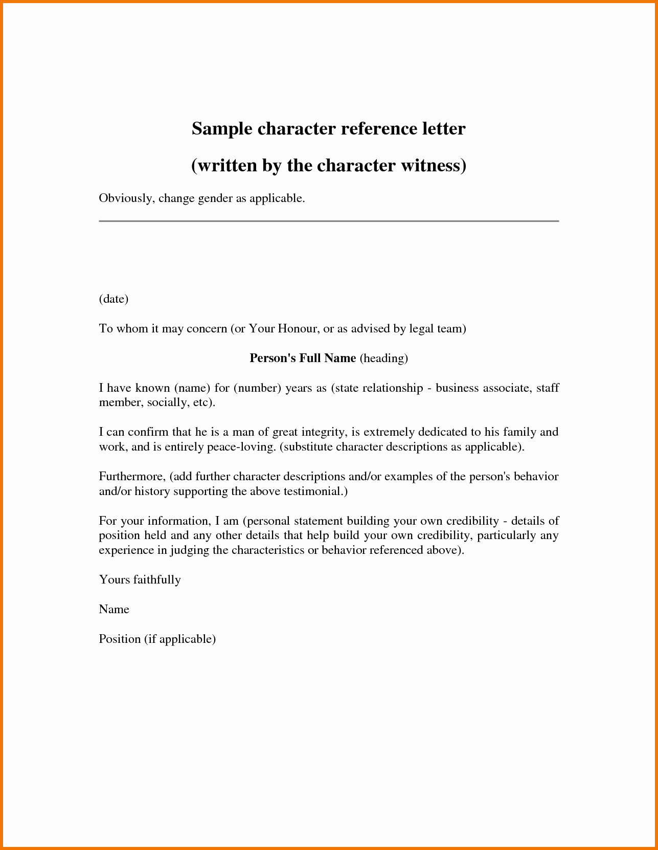 Simple Personal Character Reference Letter to Help Friend
