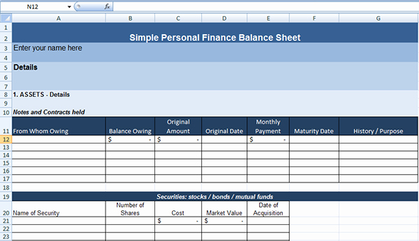 Simple Personal Finance Balance Sheet Template On Behance