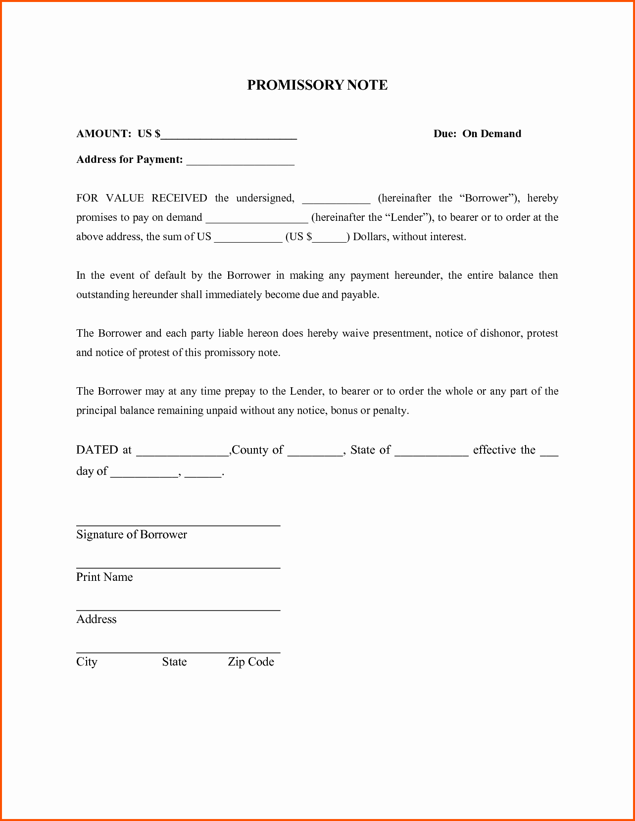 Simple Promissory Note forms Idealstalist