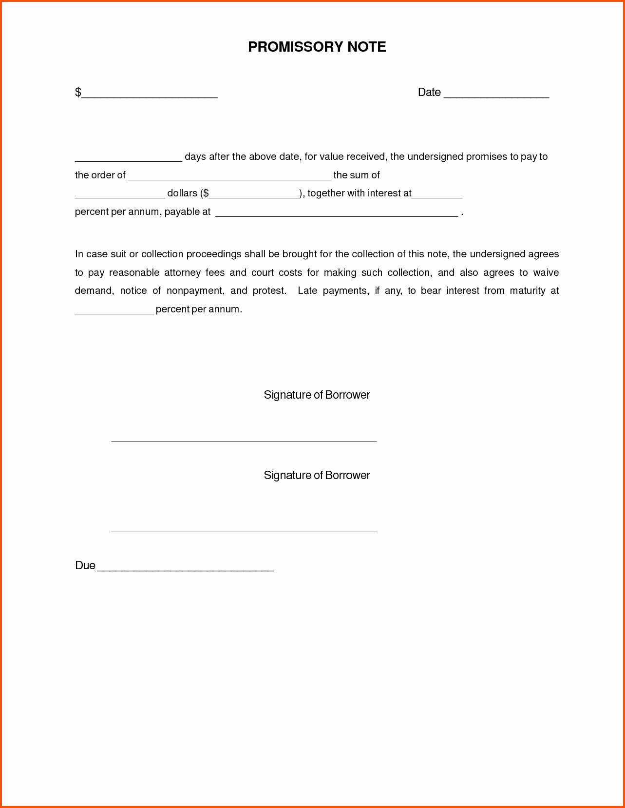 Simple Promissory Note Letter Document Sample Vatansun
