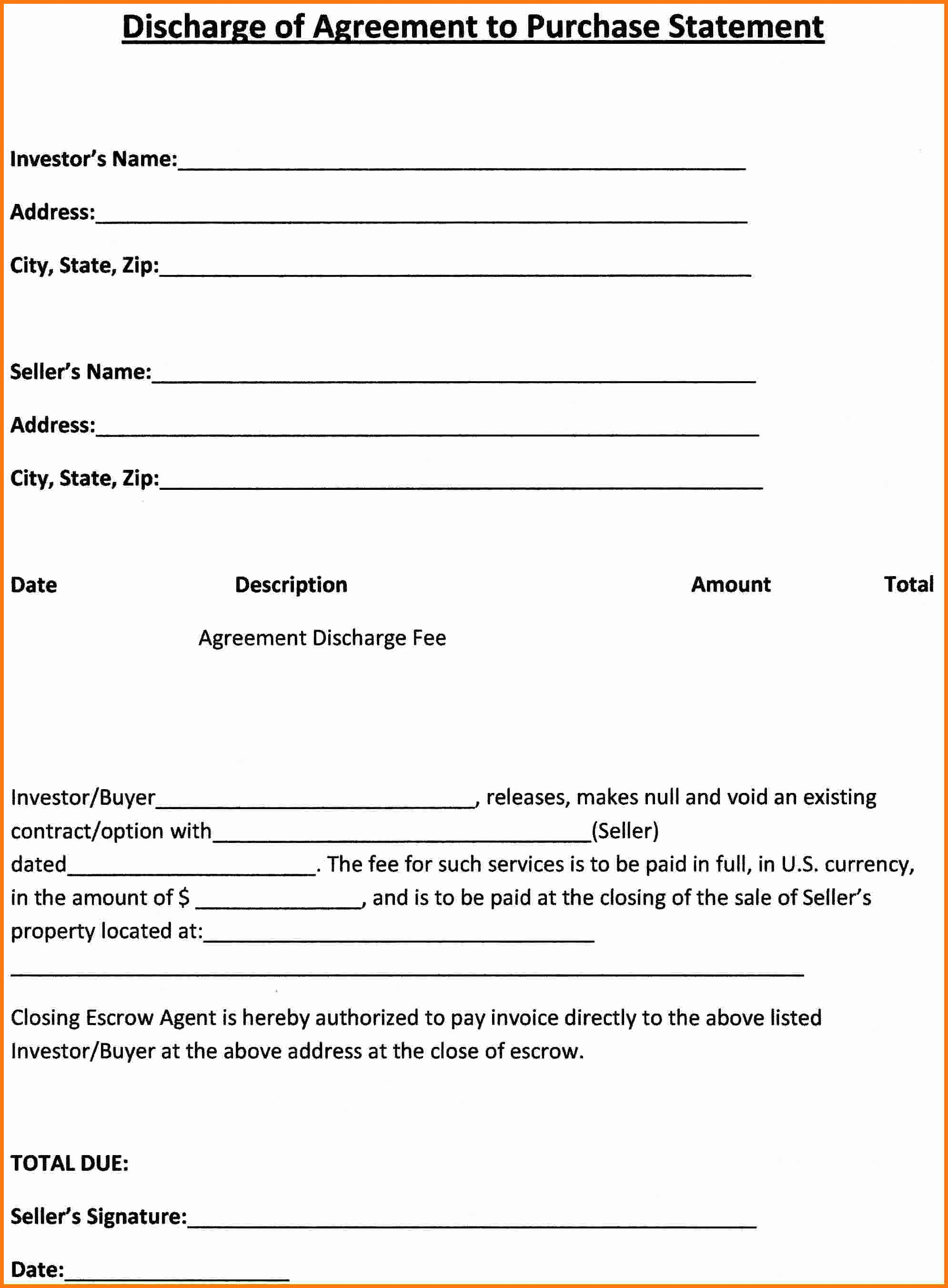 Simple Purchase Agreement Template Bamboodownunder