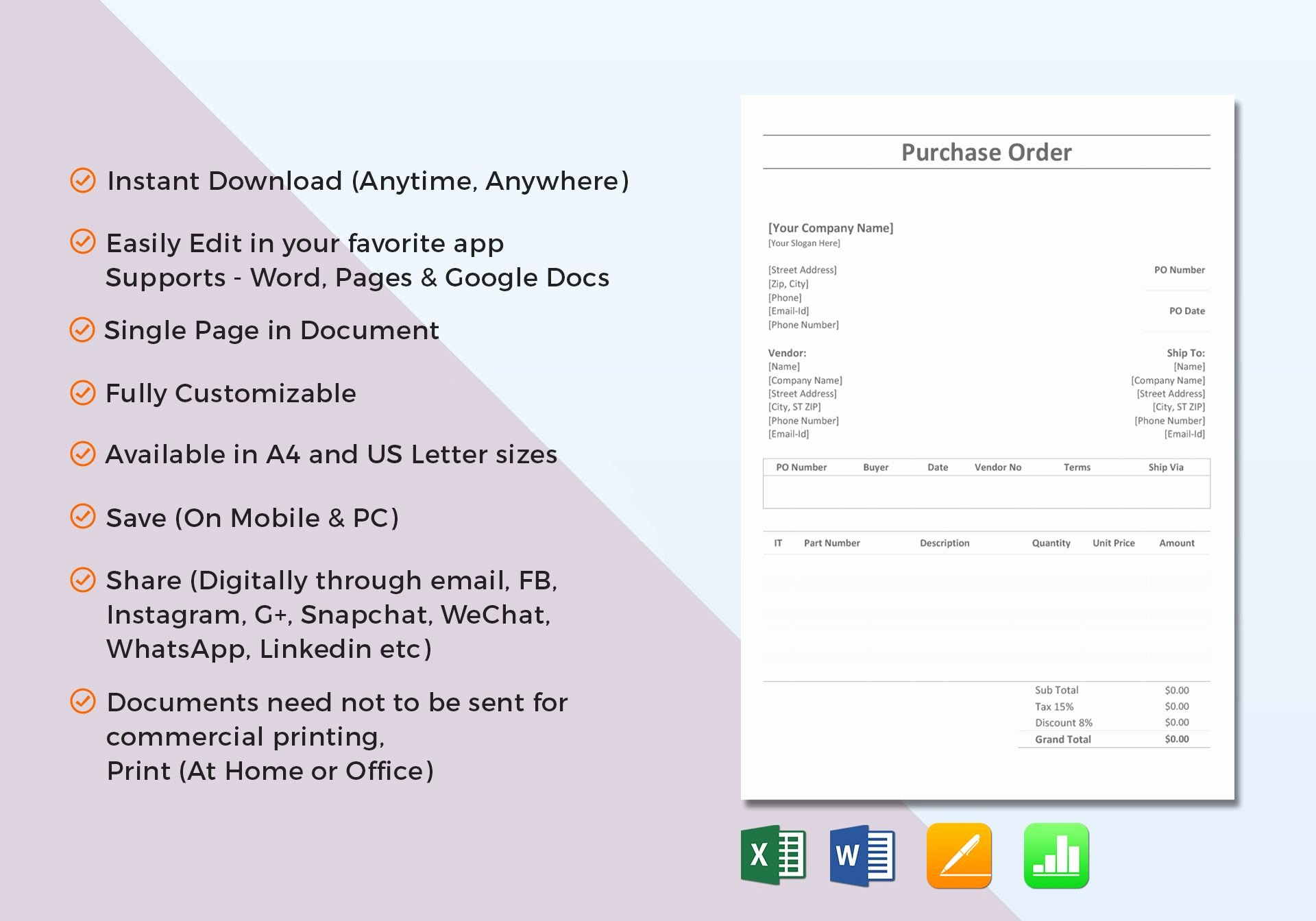 Simple Purchase order Template In Word Excel Apple Pages
