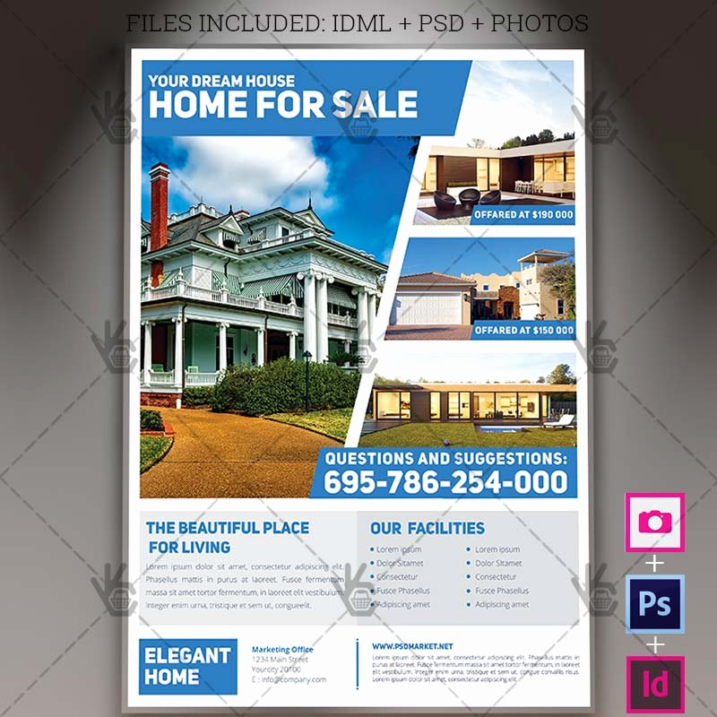 Simple Real Estate A4 Flyer Psd Template Indesign
