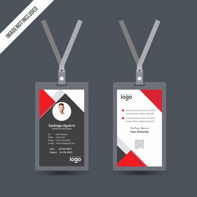 Simple Red & Black Color Id Card Design Template Vector