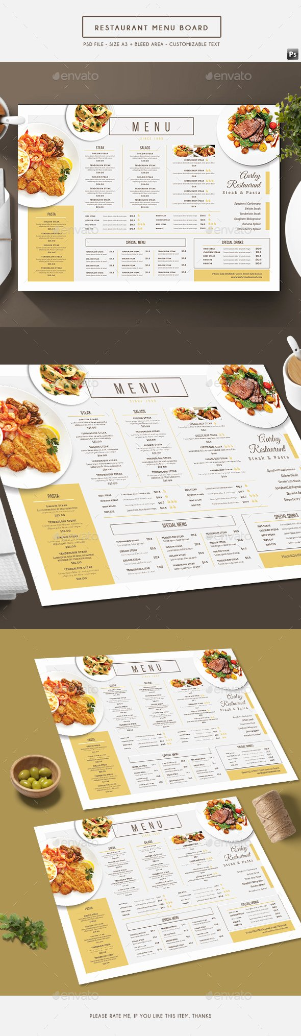 Simple Restaurant Menu Board by Arifpoernomo