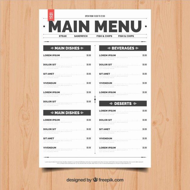Simple Restaurant Menu Vector