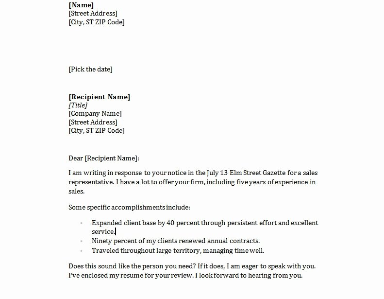 Simple Resume Cover Letter