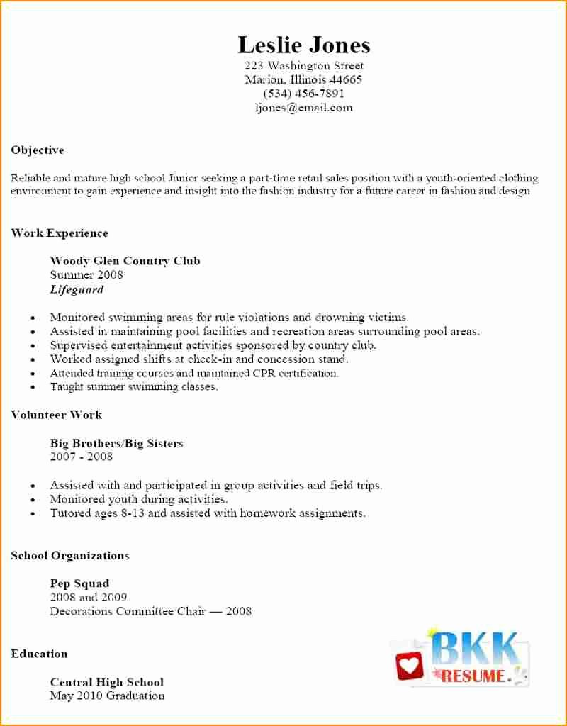 Simple Resume for Part Time Job – Perfect Resume format