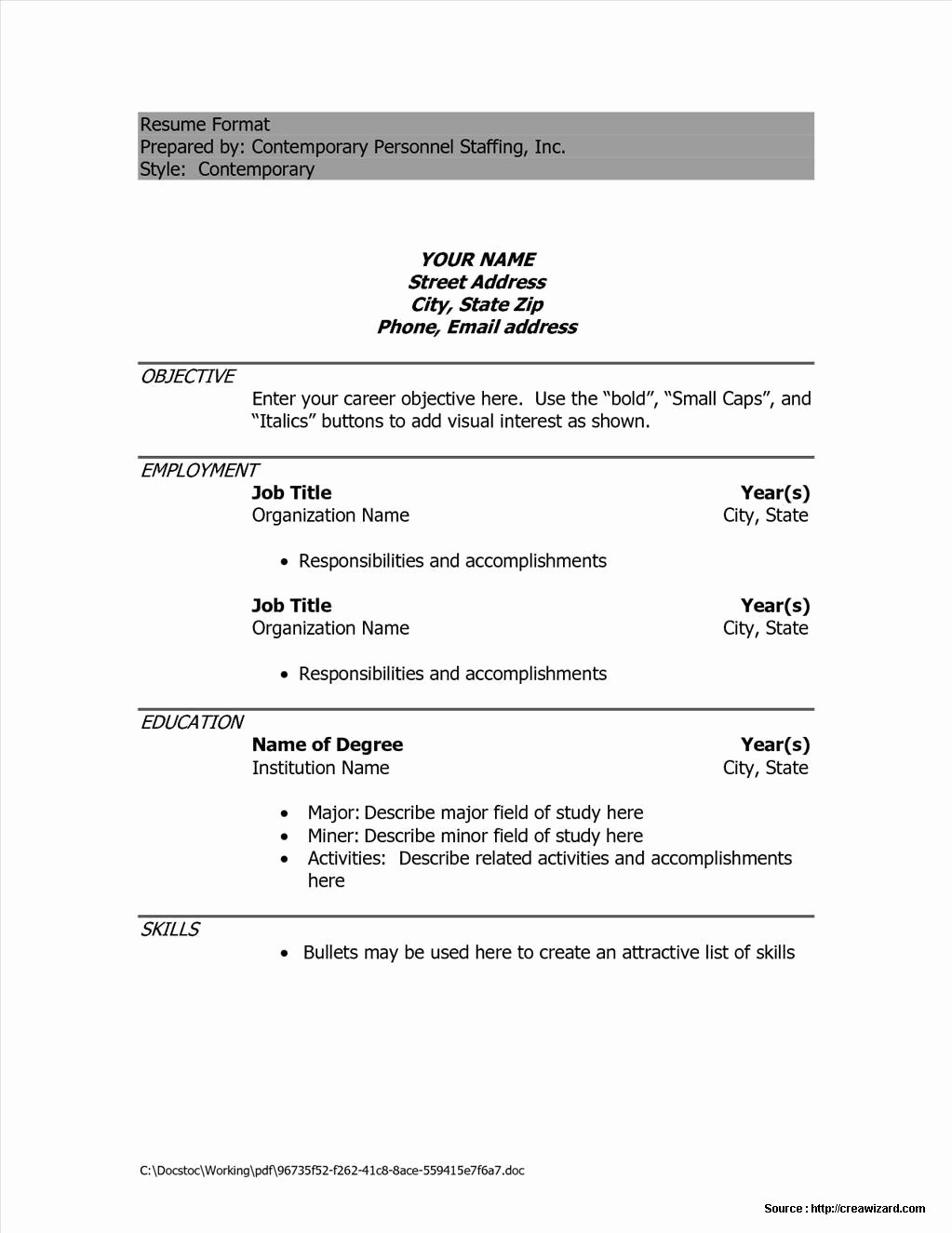 Simple Resume format Sample Doc Resume Resume Examples