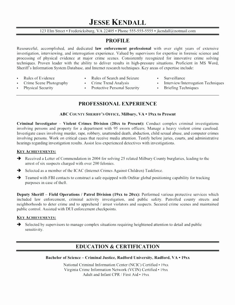 Best Criminal Justice Resume Collection From Professionals Simple Template Templates
