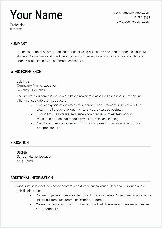 Simple Resume Template Free Printable Resume Builder