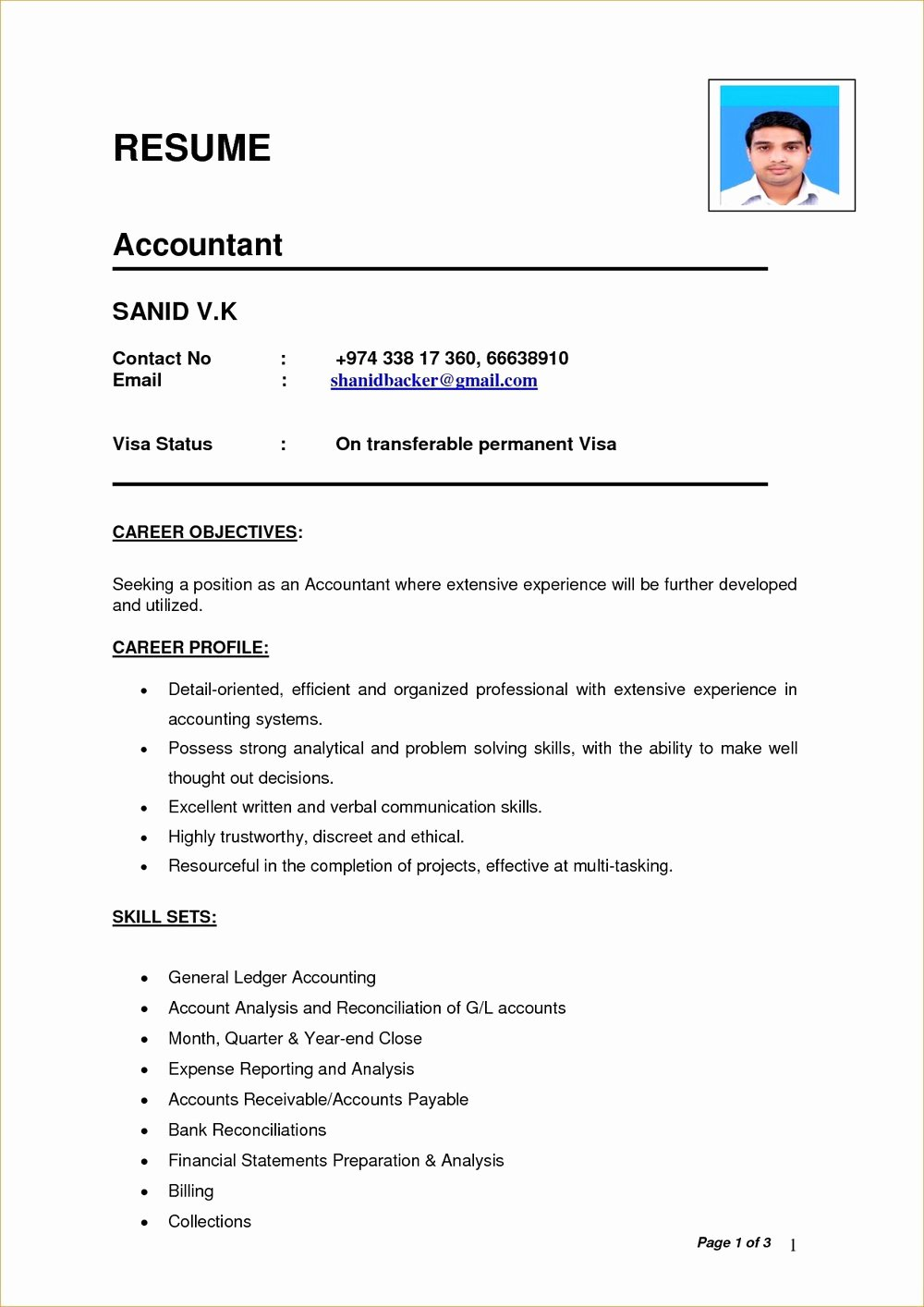 Simple Resume Templates for Word Resumes 201