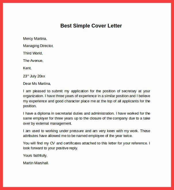 Simple Sample Cover Letter