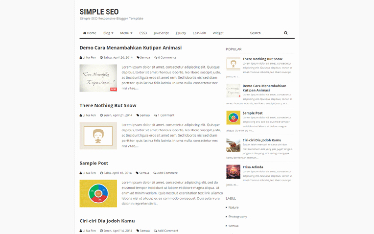 Simple Seo Personal Responsive Blogger Template