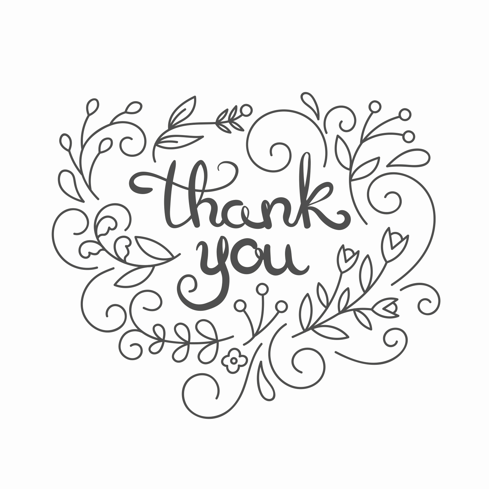 Simple Swirls Free Thank You Card Template