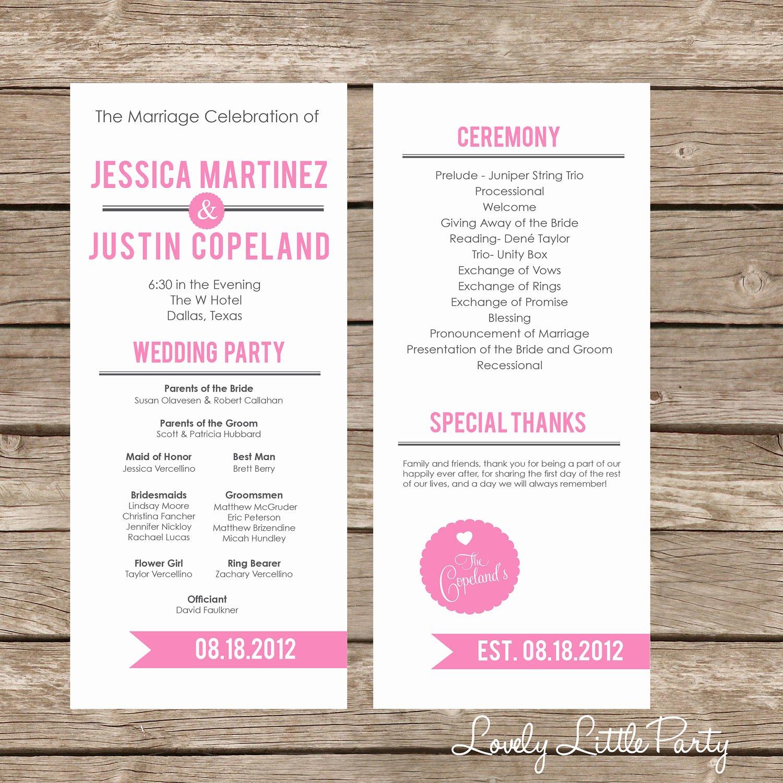 Simple Ultra Modern Wedding Program Diy Printable Lovely