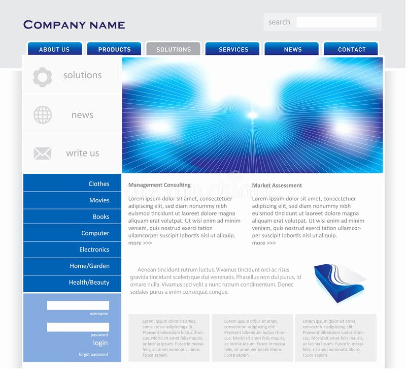 Simple Website Template Stock Vector Illustration Of
